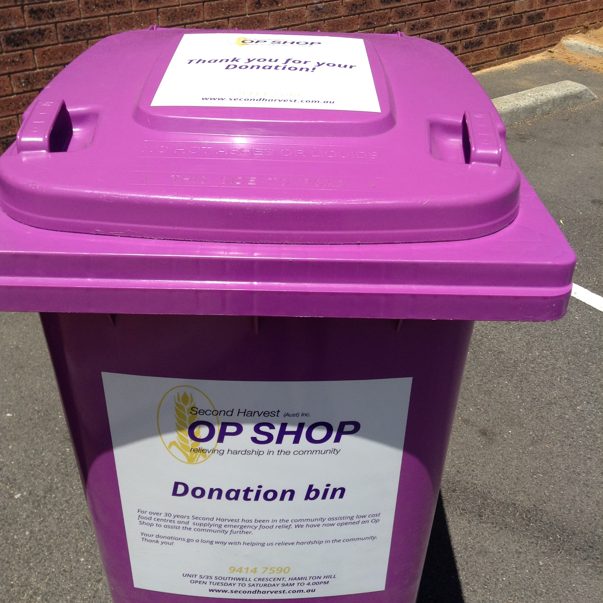 .... the purple donation bin is located outside the Op Shop!